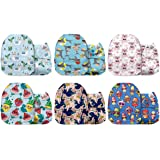 Mama Koala One Size Baby Washable Reusable Pocket Cloth Nappies, 6 Pack with 6 One Size Microfiber Inserts (Let's Play!)