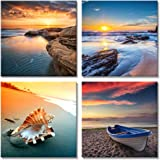 Pyradecor Sunset Sea Beach Modern Seascape Pictures Paintings on Canvas Wall Art 4 Panels Stretched and Framed Giclee Canvas