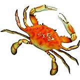 Hand Painted Crab Beach Tiki Bar Wall Mount Decor 15cm Red