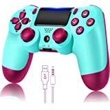 Wireless Controller for PS4, Remote for Playstation 4 with Charging Cable, Berry Blue Remote,New Model