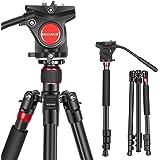 Neewer 180cm 2-in-1カメラ三脚一脚 アルミ合金製 携帯袋付き 耐荷重12キロまで