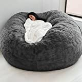 Daseey Home Sponge Bed Bean Bag Chair Cover Slipcover Double Bedroom Balcony Large Couch Round Soft Fluffy Cover No Fillings