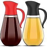 Brieftons Oil & Vinegar Dispensers: 2 x 18.6 Oz Leakproof Glass Dispenser Bottles, Dual Condiment Dispensing Cruet Containers