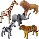 Airniture Jet Creations Safari Inflatable Plush Stuffed Animal 5 Pack Giraffe Zebra Elephant Lion Tiger for Pool, Party Decor