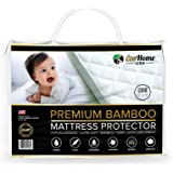 Premium Bamboo Crib Mattress Protector Waterproof Ultra-Soft, Quiet and Breathable   Bamboo Terry Cloth Quilted Fitted Cover