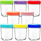 Youngever Glass Baby Food Storage, 6 Ounce Baby Food Glass Containers with Airtight Lids, Glass Jars with Lids, 8 Assorted Co