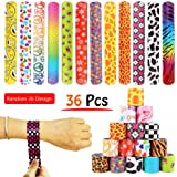 36 PCS Slap Bracelets Party Favors Pack with Diverse Pattern, Emoji, Animals, Heart Print Design, Retro Slap Wrist Bands for