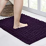 Walensee Bathroom Rug Non Slip Bath Mat (24x17 Inch Dark Purple) Water Absorbent Super Soft Shaggy Chenille Machine Washable