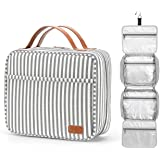 Hanging Travel Toiletry Bag for Women with Hook,Large Makeup Organizer with 21 Compartments,Water-Resistant Travel Cosmetic B