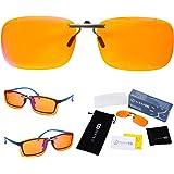 Clip On 99.9% Blue Light Blocking Glasses for Women or Men - Anti Blue Light Blocking Computer Glasses and Gaming Glasses Cli
