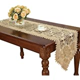 Simhomsen Large Beige Lace Table Runner Embroidered Rose 16 × 120 Inch