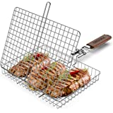 ORDORA Portable Grill Basket, Rustproof 304 Stainless Steel Grill Accessories, Fish Grilling Basket for Outdoor Grill, Heavy