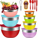 Mixing Bowls - Babyltrl Mixing Bowls Set, 18pcs Kitchen Tools Stainless Steel Nesting Mixing Bowls with Lids, Size 7, 6, 5, 4