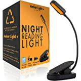 Amber Light Rechargeable Blue Light Blocking Reading Light | Warm LED Light for Strain-Free, Healthy Eyes | Base Clamp for Ha