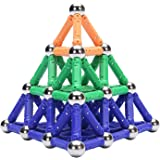 WITKA 138 Pieces Magnetic Building Sticks Blocks Toy Brain Training STEM Toys Intelligence Learning Games Set Gift for Kids a