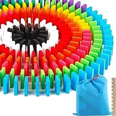 Haibei ドミノ倒し 12色 240枚 積み木 知育玩具 天然木製 おもちゃ カラフル こども 誕生日 プレゼント 並べる用道具付き 収納袋 セット