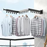 BOQORAD Wall Mounted Clothes Hanger Rack, Retractable Clothes Drying Rack,Space-Saver,Collapsible , for Laundry,Balcony, Mudr