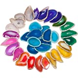 rockcloud 10 Pcs Agate Light Table Slices, Healing Crystals Geode Stones,Irregular Home Decoration Jewelry Making,Multi Color