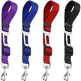 4 Pack Adjustable Pet Dog Cat Seat Belt YuCool Safety Leads Vehicle Car Harness Seat TetherNylon Fabric- BlackBlue Red Purple