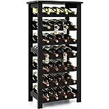 Homfa Bamboo Wine Rack, 7 Tier Free Standing Wine Storage Rack Display Shelves 28 Bottles Capacity Storage Standing Table, Wo