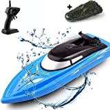SZJJX 2 in 1 RC Boat, Remote Control Racing Boats for Pools and Lakes Pond Garden, 10km/H 2.4G Mini Speed Boat with Disassemb