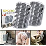 Kingtree 2 PCS Cat Self Groomer, Cats Corner Groomer Wall Corner Massage Comb Grooming Brush Perfect Massager Tool for Long &