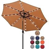 Blissun 9 ft Solar Umbrella, 32 LED Lighted Patio Umbrella, Table Market Umbrella, Outdoor Umbrella for Garden, Deck, Backyar