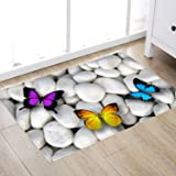 Butterfly Stone Print 17MM Thick Memory Foam Bathroom Carpet and Door Mat Non-Slip Absorbent Flannel Bathroom Carpet Bed Rug