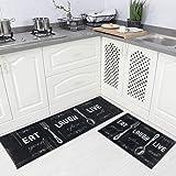 "Carvapet 2 Piece Kitchen Rug Set Non-Slip Backing Mat Throw Rug for Kitchen Doormat Runner Rug Set, Motto Design (17""x48""+17"""