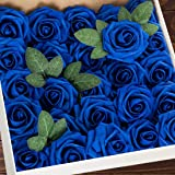 Higfra Artificial Flowers Royal Blue Fake Roses Real Looking Foam Roses with Stem for DIY Wedding Bouquets Centerpieces Brida