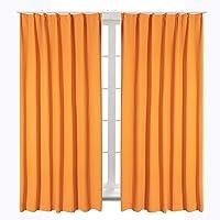 Bedsure カーテン 1級遮光 小窓 ドレープカーテン オレンジ 幅100cm丈110cm 2枚組 断熱 保温 省エ…