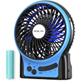 OPOLAR Rechargeable Portable Fan, 2200mAh Battery Operated or USB Powered Fan, Handheld Fan with Internal and Side LED Light,