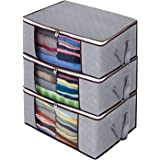 Awekris Foldable Storage Bag, Set of 3 Large Foldable Clothes Organizer, Clear Window & Carry Handles, Great for Clothes, Bla