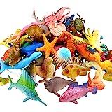 Ocean Sea Animal, 52 Pack Assorted Mini Vinyl Plastic Animal Toy Set, Funcorn Toys Realistic Under The Sea Life Figure Bath T