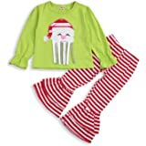SEVEN YOUNG Christmas Outfits Kids Toddler Baby Girls Santa Shirt+Striped Bell-Bottomed Pants Set Winter Clothes