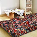 HIGOGOGO Bohemian Floor Cushion, Square Meditation Pillow Mandala Floor Seat Cushion Cotton Linen Yoga Pillow Japanese Tatami