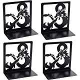 Creative Dragon Design Black Bookends, 2Pair Non Skid Metal Heavy Duty Bookend for Books Shelves, Book Divider Decorative Hol