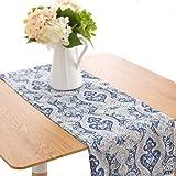 jinchan Table Runner Damask Medallion Printed Tablecloth for Kitchen Flax Linen Textured Medallion Design 1 Panel Blue 13 Inc