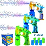 Joyin Toy Pact of 3 LED Light Up Bubble Guns with 6 of 4oz Bubbles Party Favors for Easter Basket Stuffers Fillers