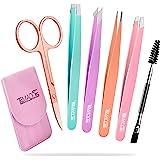 Eyebrow Tweezer Set, TsMADDTs 6 Pcs Tweezers Set for Women, Precision Tweezer for Eyebrows with Curved Scissors for Ingrown H