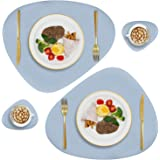 Faux Leather Placemats and Coasters Set, Round Leather for Dinner Table Mats Heat Resistant Non-Slip Washable Insulation Coff