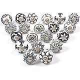 Zahra Premium Quality Assorted Ceramic Knobs- Multi Color Mix Designed Ceramic Cupboard Cabinet Door Knobs Drawer Pulls & Chr