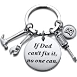 Dad Grandpa Key Chain with Small Tool Initial A-Z Charms Dad Grandpa Gifts from Child Grandchild Father's Day Birthday Gifts