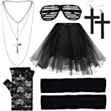 EuTengHao 80s Women's Costume Outfit Accessories Set Stripe Glasses Lace Gloves Leg Warmers Tutu Skirt Crucifix Earrings and