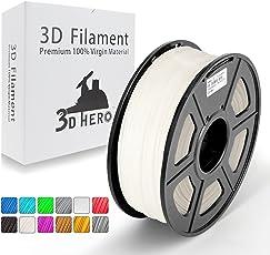 3D Hero3Dプリンター用フィラメントABS 白/ホワイト(マット面,アイボリーに近い)、1.75mm、無臭、寸法精度+/-0.02mm、3D印刷フィラメント、のスプールフィラメント。3Dプリンター、3Dペン、100%バージン原料(1KG)