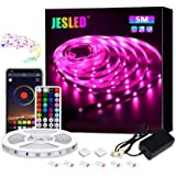 LED Strip Lights, JESLED 5M Bluetooth Led Strip Lights with 44 Keys IR Remote Controller, Smart Led Strip Lights for Bedroom,