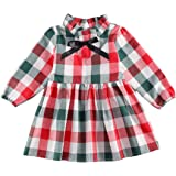 Toddler Baby Girls Christmas Dress Plaid Ruffle Long Sleeve Top Bowknot A-Line Dress Tutu Skirt Christmas Outfit Clothes