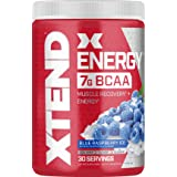 Scivation XTEND Energy BCAA Powder Blue raspberry | 125mg Caffeine + Sugar Free Pre Workout Muscle Recovery Drink with Amino