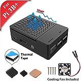 GeeekPi Raspberry Pi 3B+ ケース ラズベリーパイ3/2モデルBケース 、冷却ファンと3個入りヒートシンク付き(ラズベリーパイボードは含まれていません) (ブラック)