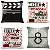 Movie Theater Cinema Personalized Home Decor Design Throw Pillow Cover Pillow Case 18 x 18 Inch Cotton Linen for Sofa Set of
